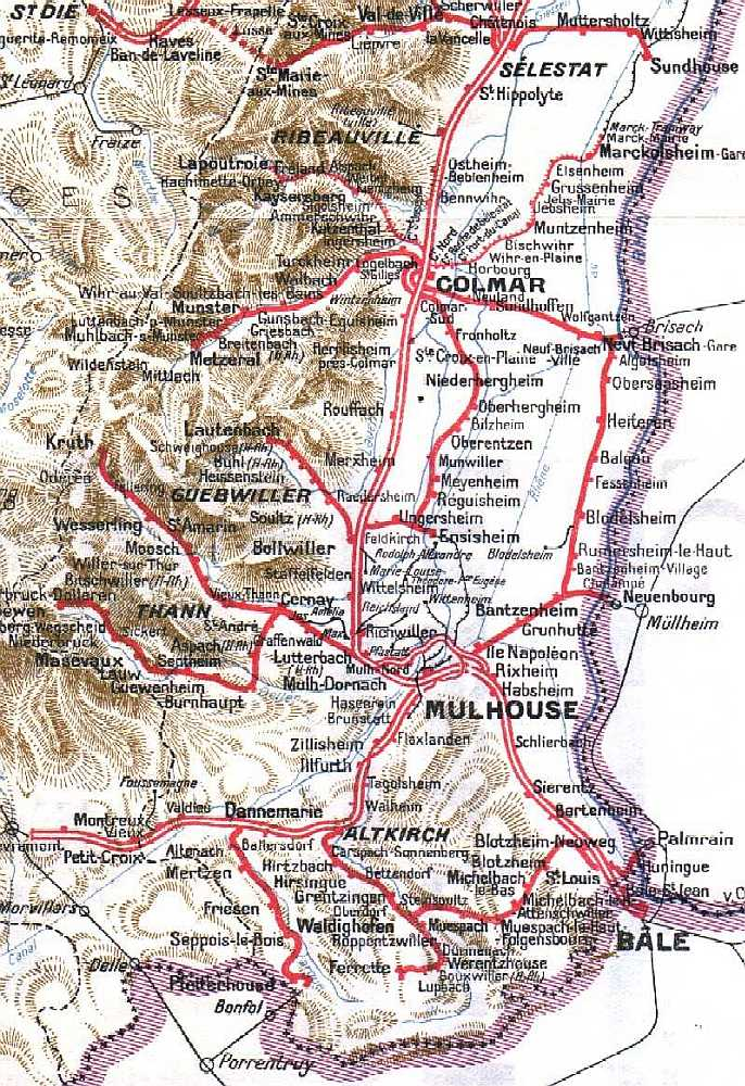 Carte Haute Alsace.Haute Alsace